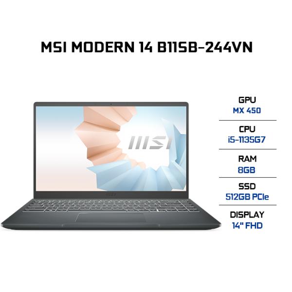 Bảng giá Laptop MSI Modern 14 B11SB-244VN i5-1135G7  8GB  512GB  VGA MX450 2GB  14 FHD  Win 10 Phong Vũ