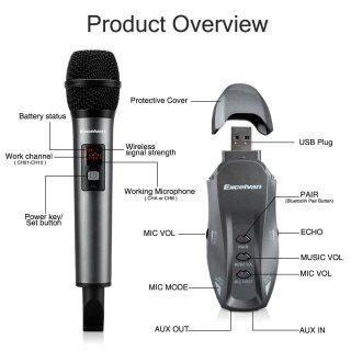 [ HOT 2021 ] Micro Karaoke Không Dây Excelvan K18V, Micro Chuyên Dụng Cho Loa Bluetooth-Dàn Karaoke Di Động Xe Hơi - Hát Cực Hay, Độ Nhạy Lọc Âm Cao, Chống Nhiễu, Chống Hú Rít, Độ Vang Hay, Giúp Giọng Hát Luôn Chân Thực, Sống Động. thumbnail