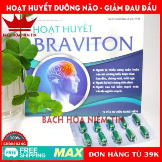 Hoạt huyết Braviton - Ginkgo Biloba 180mg- Hoạt huyết dưỡng não giảm đau đầu chóng mặt - chuẩn GMP Bộ Y tế thumbnail