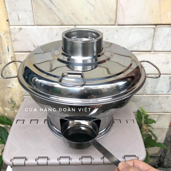 Nồi Lẩu CỔ ĐIỂN sử dụng THAN hoặc CỒN 24cm INOX. Dụng cụ nấu bếp dùng gia đình nhà hàng ĐẲNG CẤP