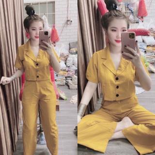 set đồ bộ nữ gồm áo sơ mi ngắn tay đính nút và quần ống rộng chất liệu kate cao cấp form từ 55kg trở xuống mặc đẹp - GIRLY STORE thumbnail