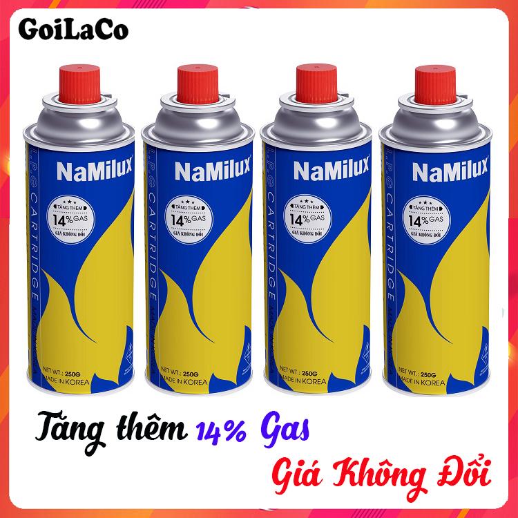 Bộ 4 Lon Gas Mini Du Lịch Namilux 250G/Lon, Xuất Sứ Hàn Quốc,  Đảm Bảo An Toàn Khi Sử Dụng Đang Ưu Đãi Giá