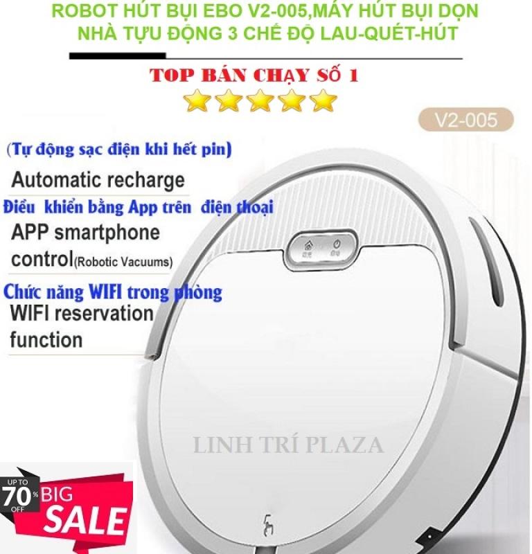 [SĂN DEAL 1K] RoBot Hút Bụi Lau Nhà Thông Minh-Robot hút bụi tự động-Robot hút bụi lau nhà-Robot hút bụi thông minh EBO V2-005 chất hơn Robot lau nhà Xiaomi,Xiaomi gen,Philips...(màu trắng)