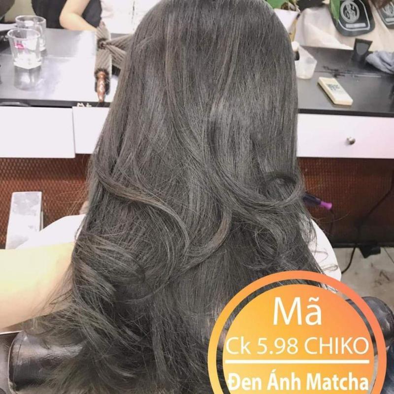 Thuốc nhuộm tóc màu Đen Ánh Matcha + kèm oxi giá rẻ