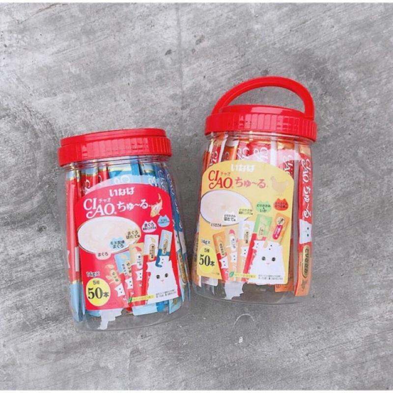 Sốt/ Snack thưởng Ciao Churu cho mèo Hộp 50 thanh - mix 5 vị ( hàng Thái)