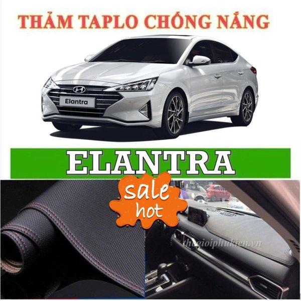 Thảm chống nắng, chống trượt trang trí taplo xe Hyundai Elantra, thảm da vân cacbon trang trí taplo