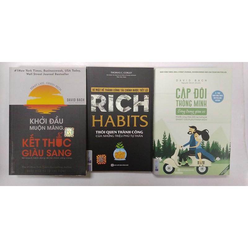 combo 3 cuồn sách: + Khởi đầu muộn màng kết thúc giàu sang + Rich habit thói quen thành công của những triệu phú tự thân + Cặp đôi thông minh sống trong giàu có( tặng kèm sổ tay)