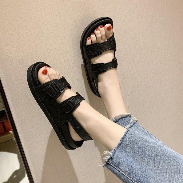 (Có 3 Màu) Sandal nữ 2 quai ngang kẻ caro kiểu dáng đơn giản giá rẻ