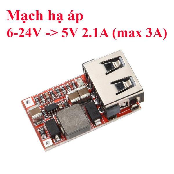 Mạch hạ áp BUCK 6-24VDC xuống 5V - 2.1A USB (max 5V 3A) - chế sạc điện thoại