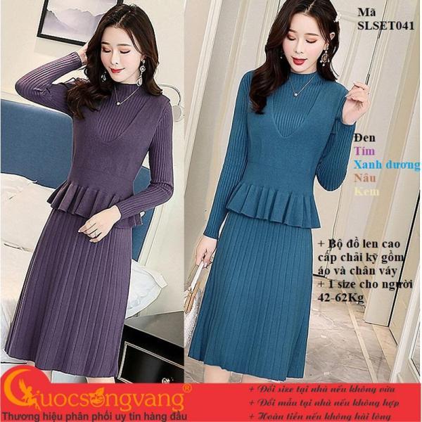 Bộ đồ len cao cấp áo và chân váy len GLSET041