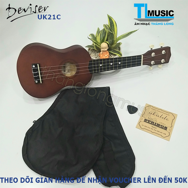 Ukulele Soprano Deviser gỗ  UK Series 21  (21inch - 53cm) (tặng bao,móng gảy, dây ukele)