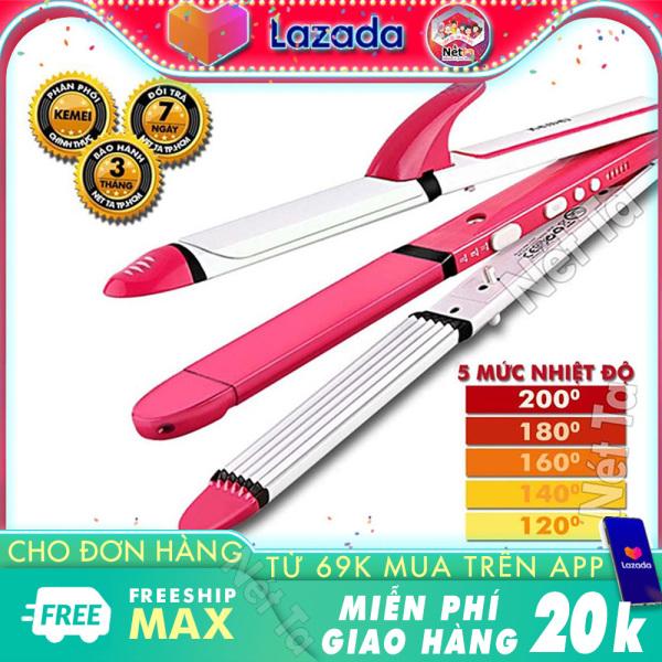 Máy duỗi tóc điều chỉnh nhiệt Kemei KM-2203 chuyên nghiệp có thể dùng để uốn lọn, uốn cụp, là thẳng tóc Nét Ta bảo hành 3 tháng cao cấp