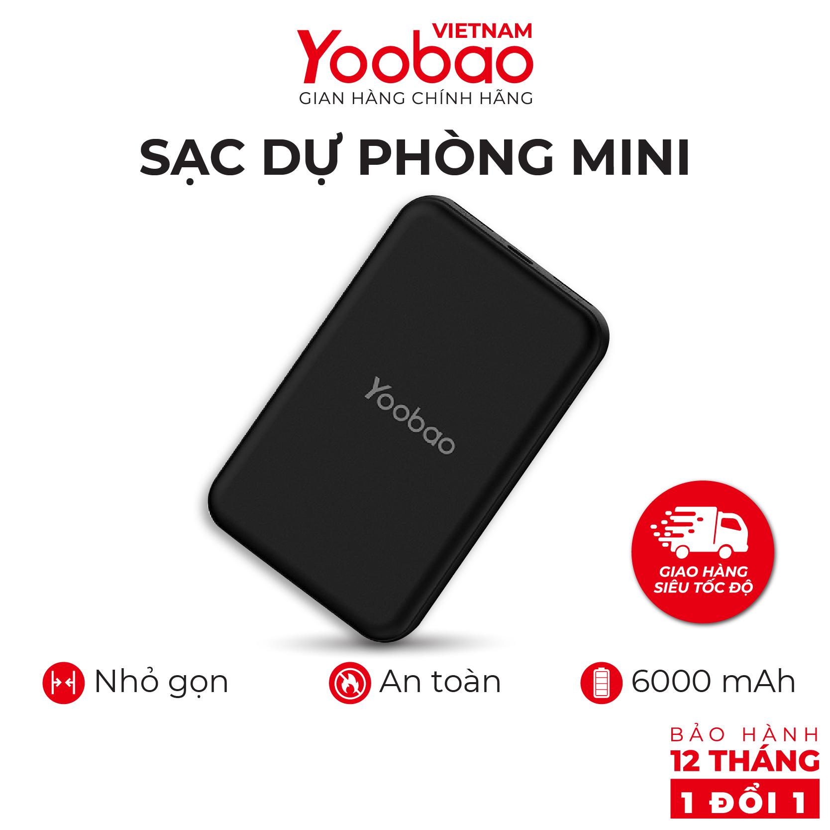 Sạc dự phòng mini 6000mAh Yoobao P6W - Hàng phân phối chính hãng - Bảo hành 12 tháng 1 đổi 1