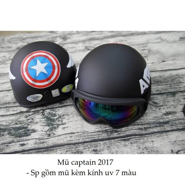 Mũ bảo hiểm nửa đầu tem Captian+ Tặng kính UV 7 Màu
