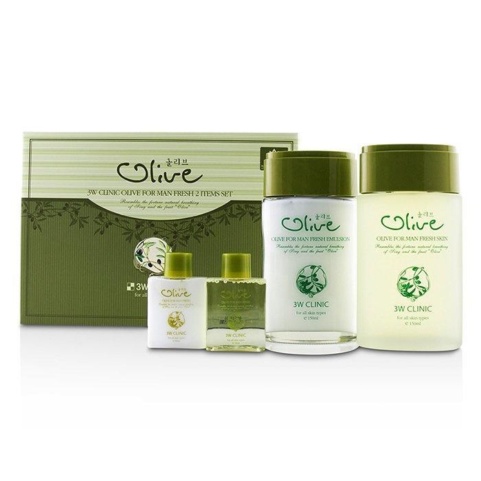 Set Bộ 2 sản phẩm dưỡng da nam tinh chất dầu Olive 3W Clinic Olive For Men Set tốt nhất