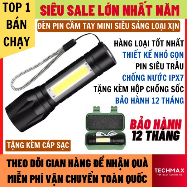 Đèn Pin Siêu Sáng Loại Cầm Tay Mini Có Đèn Phụ Bên Cạnh Tặng Kèm Hộp Chống Sốc Và Cáp Sạc, Chống Nước IPX7 Bảo Hành 12 Tháng, đèn pin, đèn pin siêu sáng, Đèn pin cầm tay