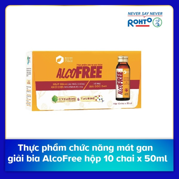 Thực phẩm chức năng mát gan giải bia AlcoFree hộp 10 chai x 50ml