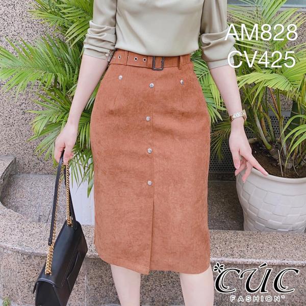 Chân váy đầm dáng công sở Cúc Fashion CV425 đầm váy dạ QC cúc bạc nhỏ