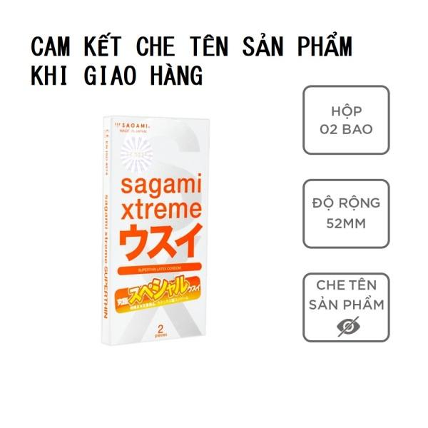 Bao cao su Sagami Superthin 1 hộp 2 bcs siêu mỏng nhiều gel bôi trơn có che tên sản phẩm - Keulendi Store cao cấp