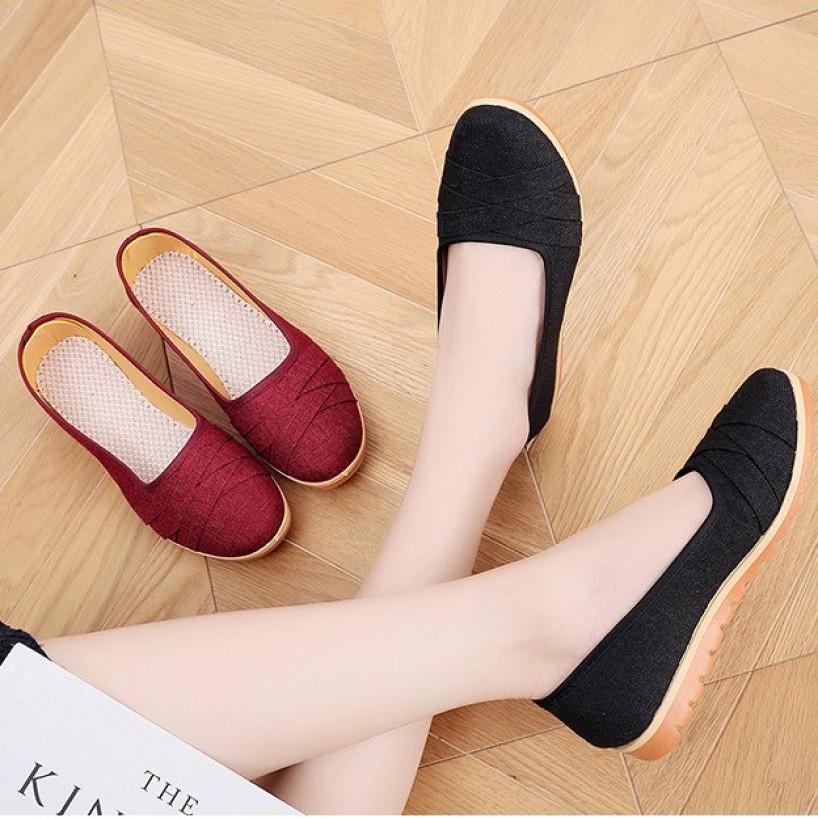 Giày búp bê vải caro đế bằng 2cm đi bộ cực êm chân V189 giá rẻ