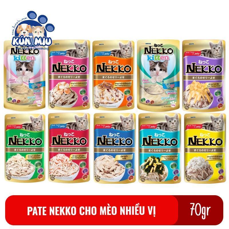 Thức ăn pate dinh dưỡng cho mèo Nekko gói 70gr các vị