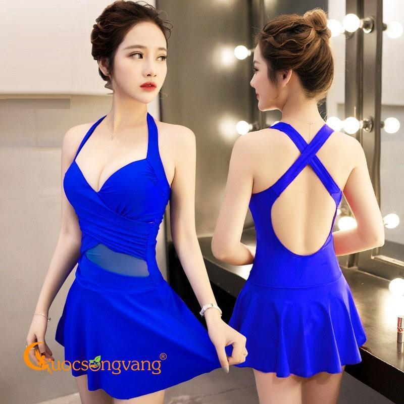 Nơi bán Đồ bơi nữ váy đầm bơi và quần rời màu xanh biển GLSWIM007