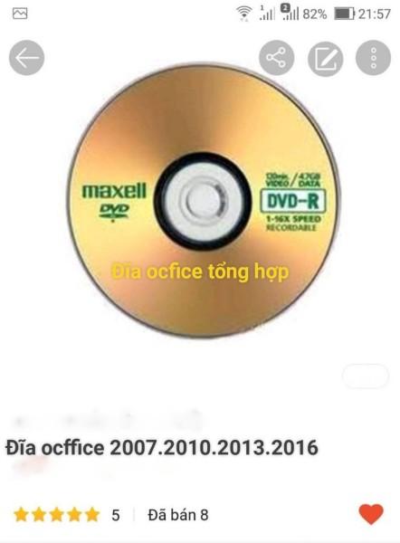 Bảng giá đĩa ocffice tổng hợp 2007-2010-2013-2016 Phong Vũ