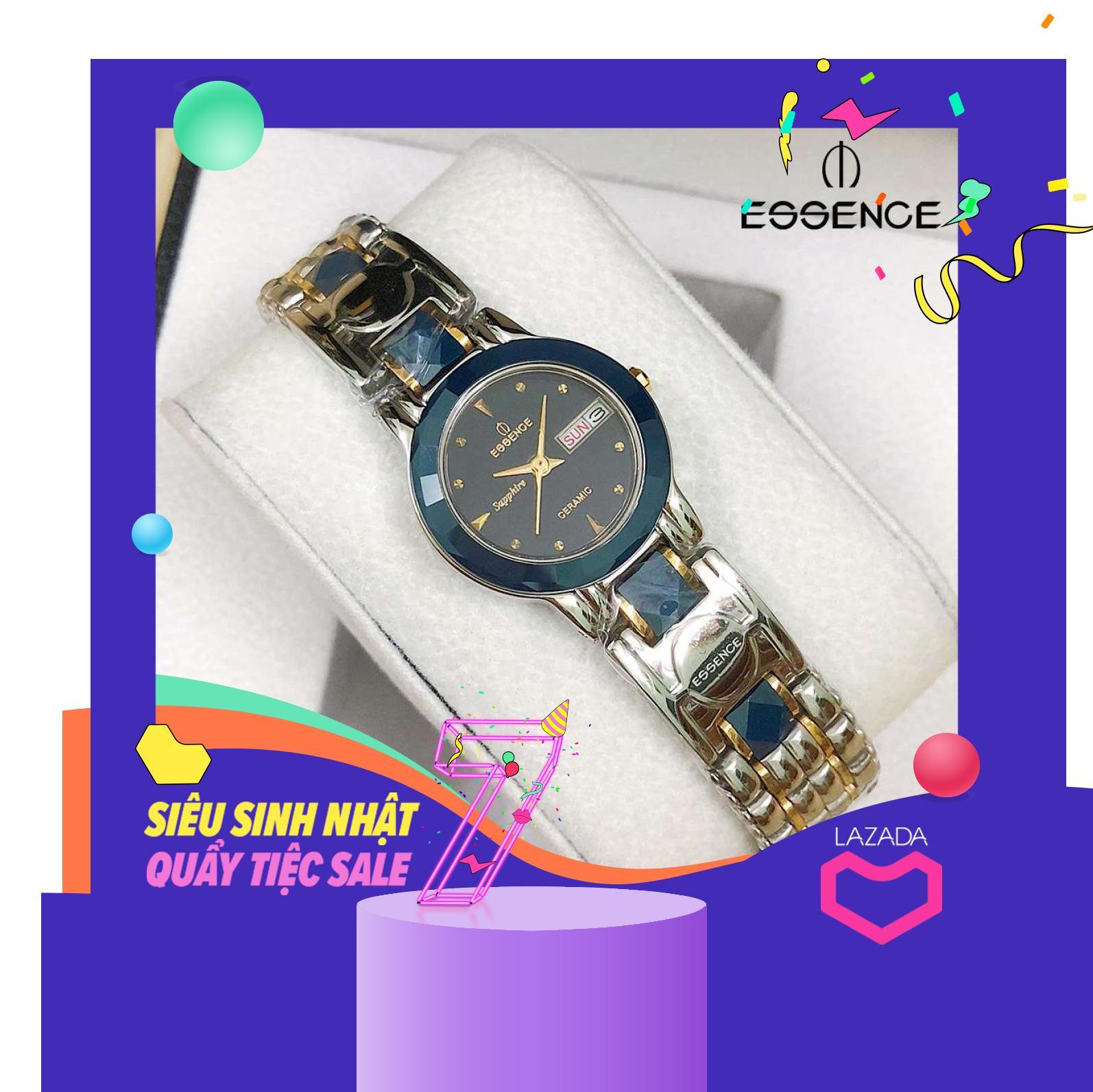 Nơi bán [Tặng pin] Đồng hồ Essence nữ trắng đá xanh (Kính saphire, chống nước, bảo hành 12 tháng)