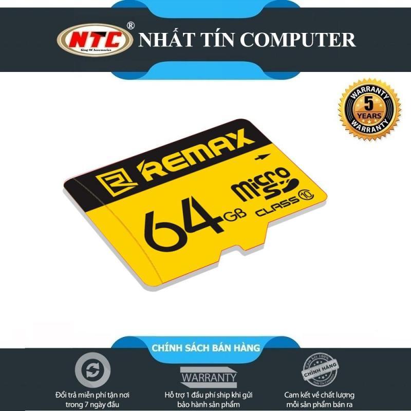 Thẻ nhớ microSDXC Remax 64GB Class 10 80MB/s - Bảo hành 5 năm (Vàng)