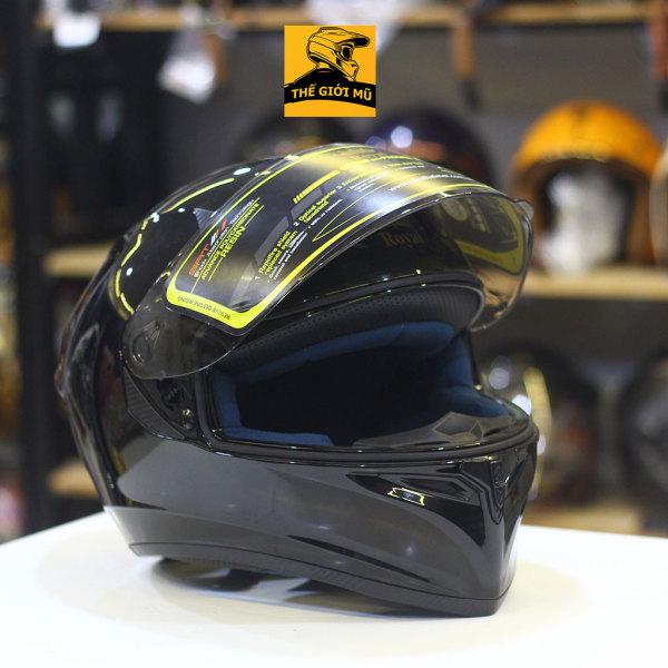 Mũ bảo hiểm Fullface Royal M138 đủ size, mũ full cằm màu đen bóng, bảo hành 12 tháng, Thế Giới Mũ Bảo Hiểm