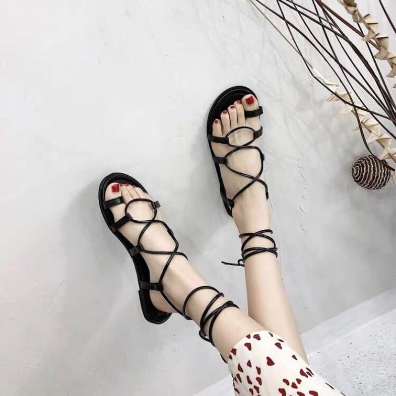( rẻ vô địch) Sandal chiến binh nữ đẹp dây mảnh,dép HÀN QUỐC JOHNK SD01 đế bệt, quấn cổ chân, mẫu mới hot trend 2020 giá rẻ