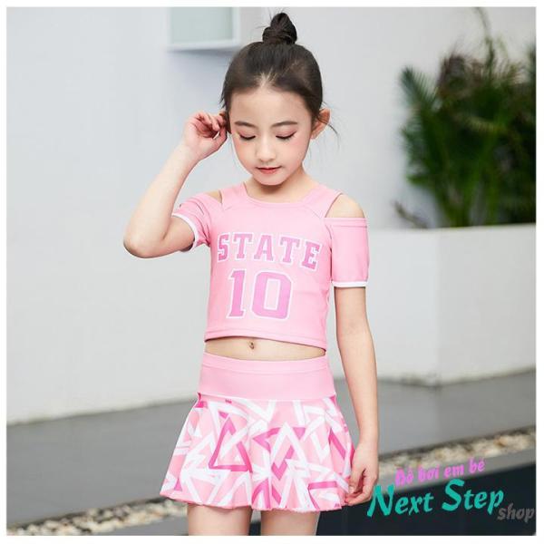 Giá bán Đồ bơi bé gái màu hồng YUKE chân váy liền quần họa tiết hình khối