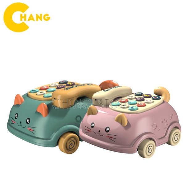 Đồ chơi điện thoại bàn hình con mèo có bánh xe - Điện thoại ô tô có nhạc và đèn cho bé
