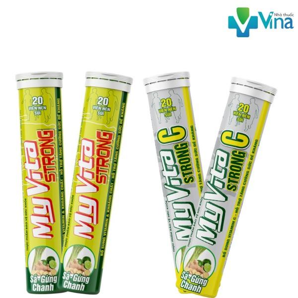 Viên Sủi Myvita Strong C & Strong 250mg vitamin C (xả - chanh - gừng) tuýp 20 giá rẻ