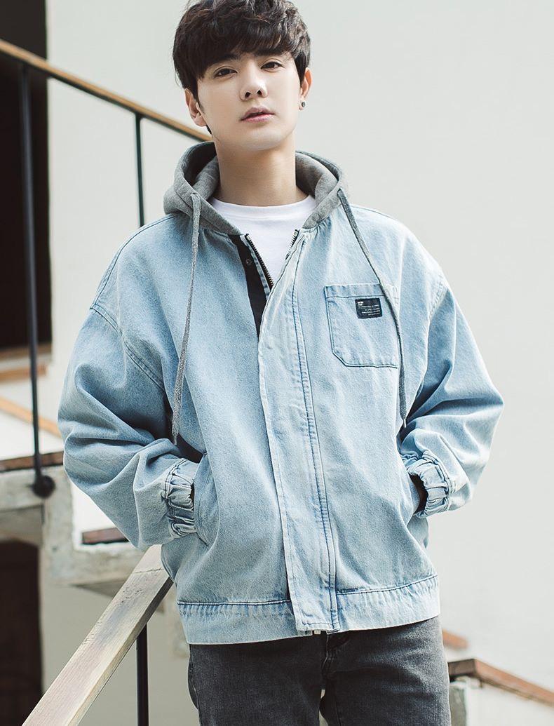 Áo Khoác Jean Nam có nón form rộng thời trang thu đông