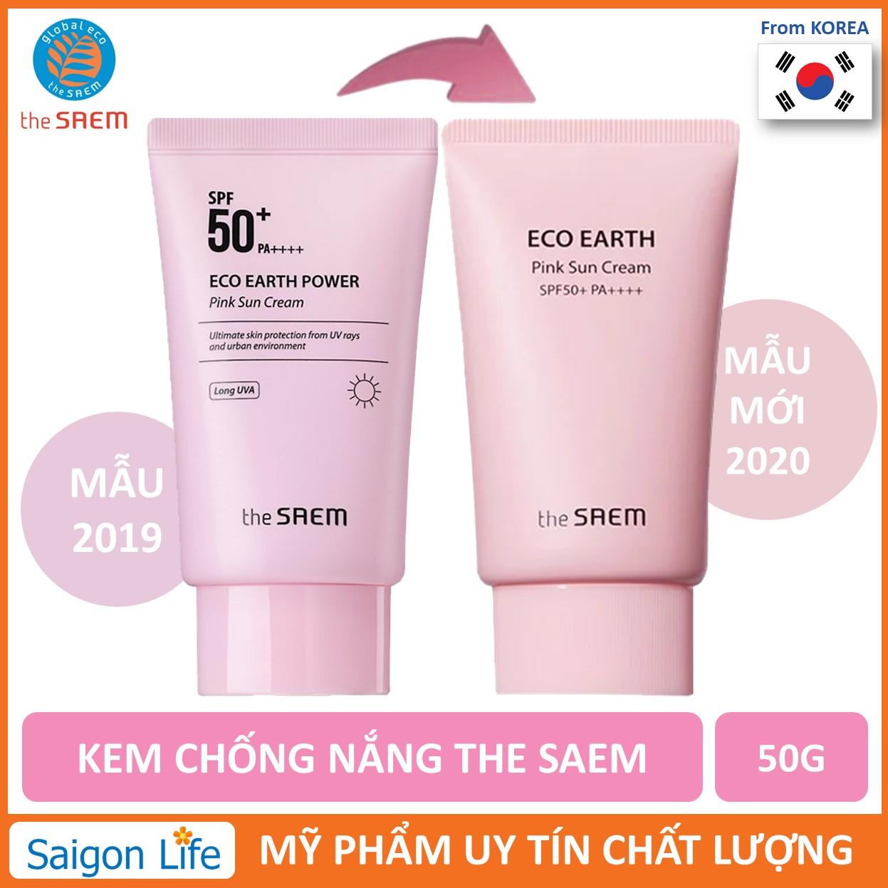 [HOT] Kem Chống Nắng The SAEM Eco Earth Power Pink Sun Cream SPF50+ PA++++ 50g Dành Cho Da Nhạy Cảm...