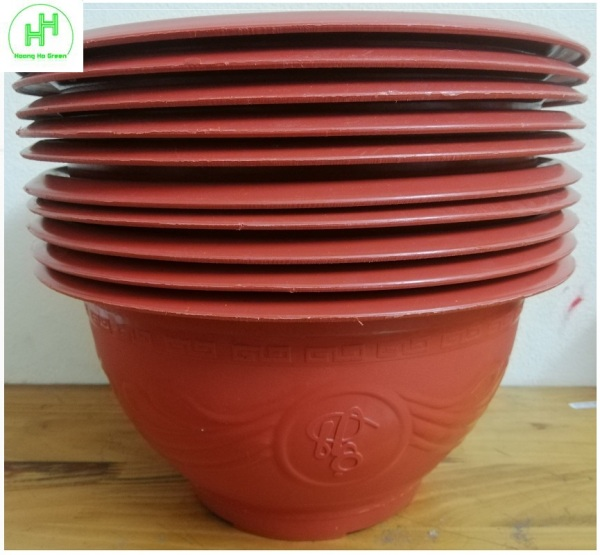 10 Châu Nhựa Trồng Cây Hình Tròn TRƯỜNG HẢI T320 Màu Đỏ