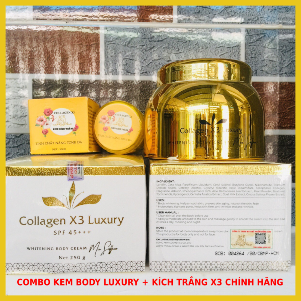 Combo Kem Body Collagen X3 Luxury +  Kích trắng X3 Đông Anh Chính hãng - Kèm Phiếu bảo hành