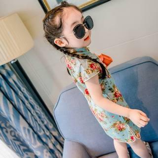 Wishbaby Váy Công Chúa Sườn Xám Trung Quốc Đầm Bé Gái Mùa Hè Cho Bé Quần Áo Cotton Không Tay In Hoa Công Chúa Ngọt Ngào Dễ Thương
