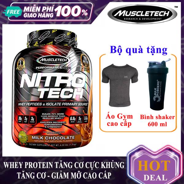 [TẶNG ÁO VÀ BÌNH LẮC] Sữa tăng cơ giảm mỡ cao cấp Whey Protein Nitro Tech của MuscleTech hộp 1.8 kg hỗ trợ tăng sức bền sức mạnh, đốt mỡ giảm cân cho người tập gym và chơi thể thao - thuc pham chuc nang nhập khẩu