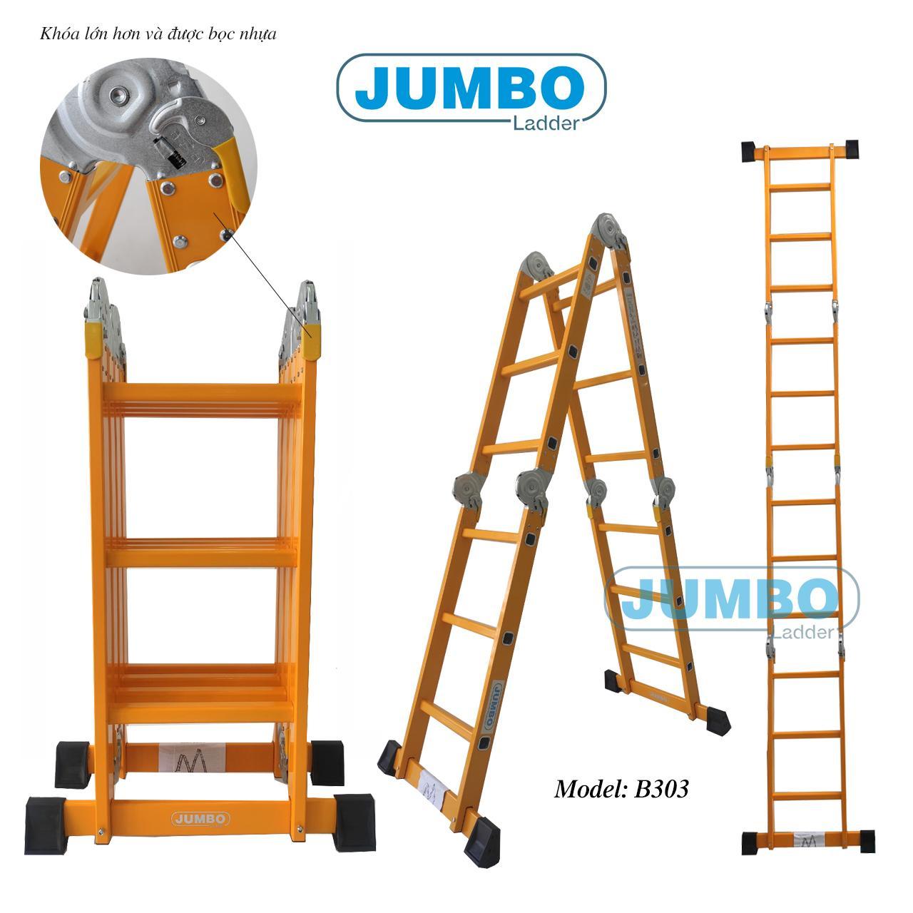 Thang nhôm gấp 4 đoạn đa năng JUMBO B303 3,58m