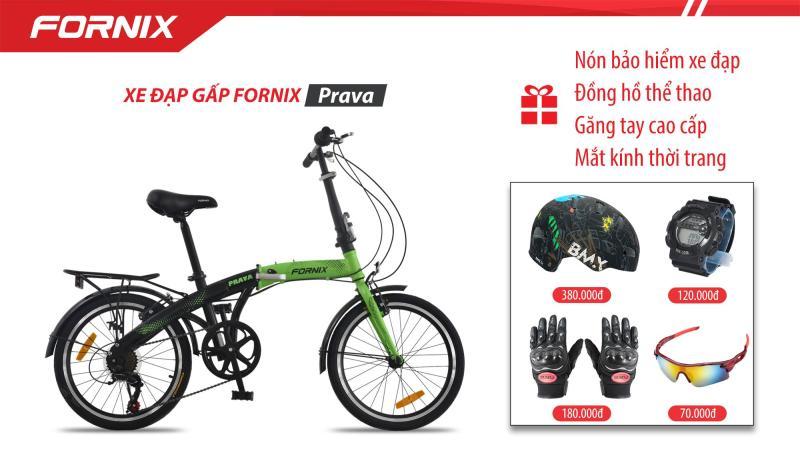 Mua Xe đạp gấp hiệu FORNIX, mã PRAVA (NEW) + Gift Nón BH A02NC1, Găng tay, Đồng hồ thể thao