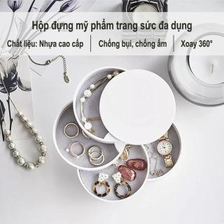 Hộp đựng trang sức hình tròn nhiều tầng thiết kế đơn giản nữ tính vừa chứa đồ vừa trang trí - INTL thumbnail