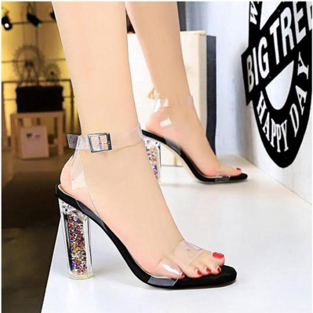 ( Bảo hành 12 tháng ) Giày cao gót nữ quai trong gót Mika kim tuyến cao cấp - Giày cao gót 10cm - Giày nữ quai Mika trong mềm 2 màu Đen và Hồng - Linus LN1814 giá rẻ