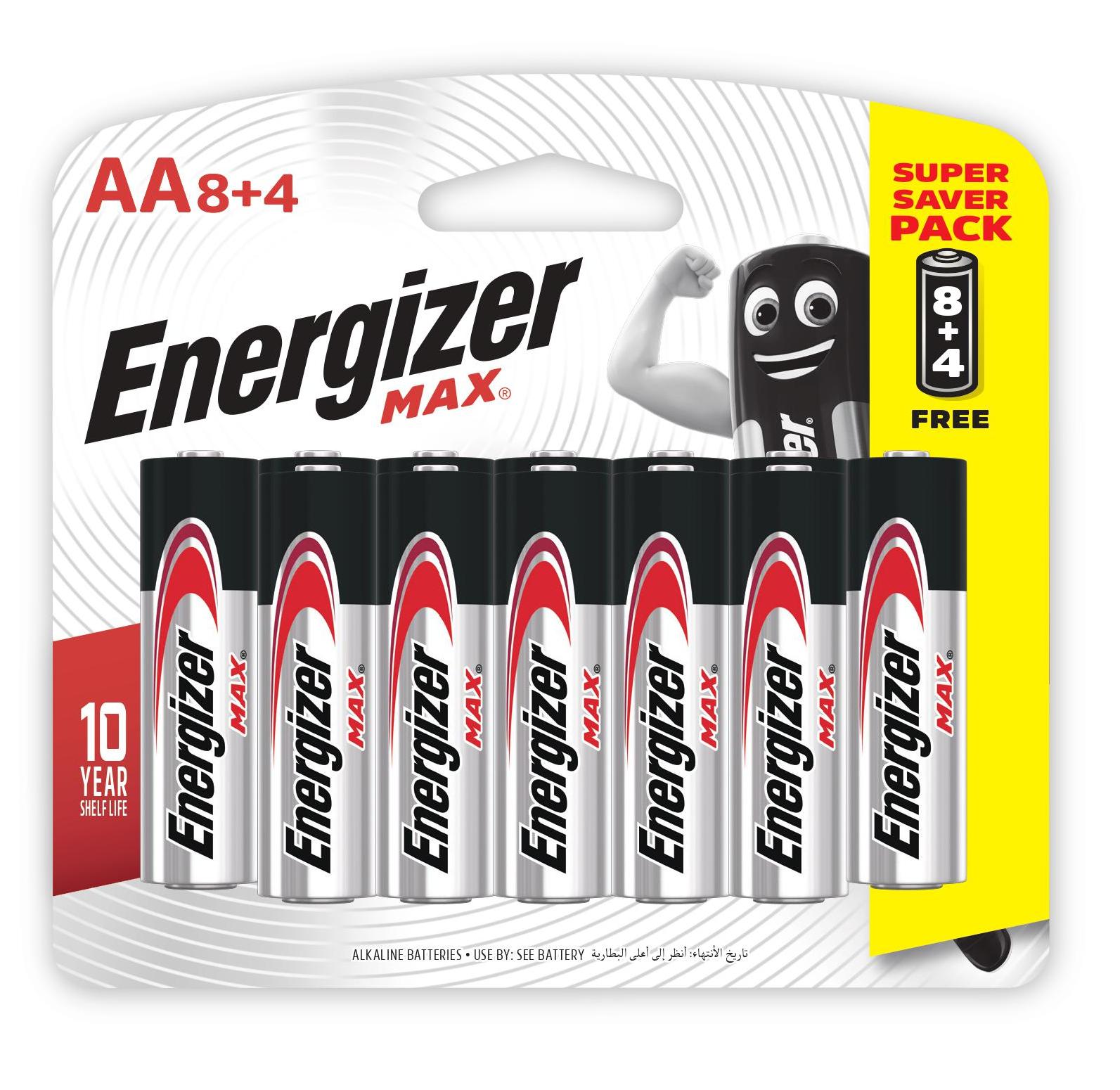 Pin Energizer Max AA E91 BP8+4, để xa tầm tay của trẻ em, pin kiềm, hiệu điện thế 1,5V, thay pin cùng lúc cùng loại