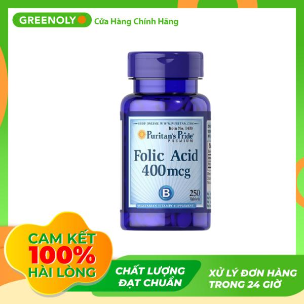 Viên Uống Hỗ Trợ Bổ Sung Puritans Pride Folic Acid 400mg 250 Viên - Greenoly Việt Nam phân phối chính hãng nhập khẩu