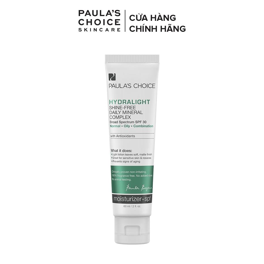 Kem chống nắng phổ rộng dưỡng ẩm hàng ngày bổ sung khoáng chất Paula's Choice Hydralight Shine Free Daily Mineral Complex SPF 30-60ml
