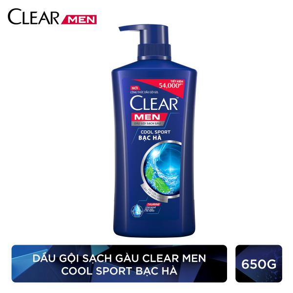 Clear Men Cool Sport Bạc Hà Dầu Gội Sạch Gàu sạch gàu vượt trội cấp ẩm da đầu chấm dứt nỗi lo về gàu 650g