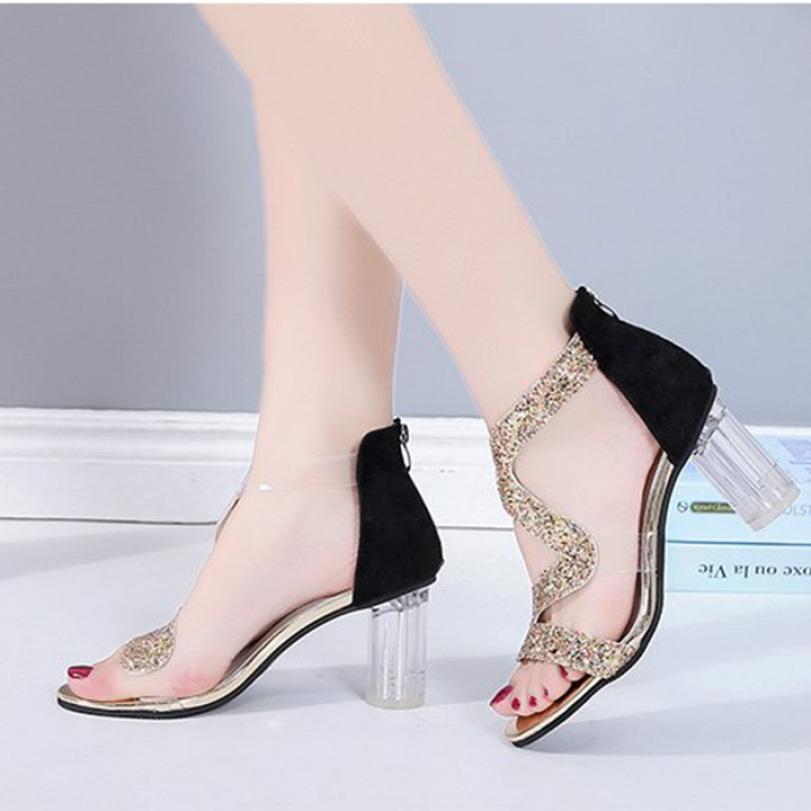 (Bảo hành 12 tháng) Giày cao gót nữ gót trong quai kim tuyến zik zak - Giày gót trong cao 8cm - Giày nữ da mềm kim tuyến 2 màu Đen và Vàng - Elsa ES130 giá rẻ