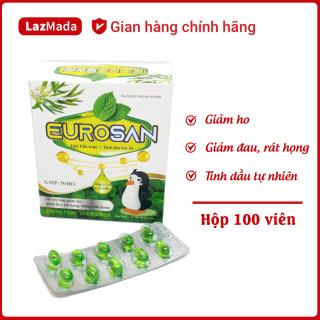 EUROSAN - Viên uống giảm ho, giảm đau rát họng hiệu quả - Thành phần tinh dầu tràm, bạc hà tự nhiên - Hộp 100 viên chuẩn GMP Bộ y tế thumbnail